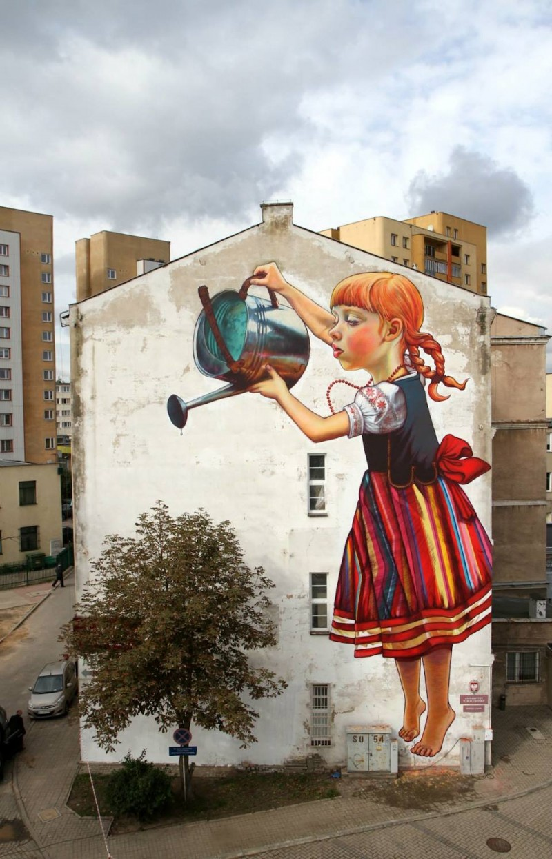 Mural by Natalii Rak at in Bialymstoku, Poland