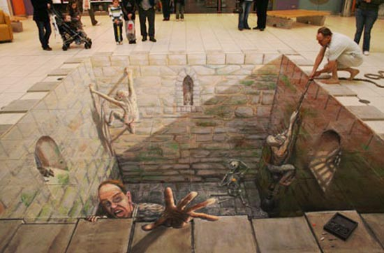 Prison Break 3D Graffiti Art by Julian Beever