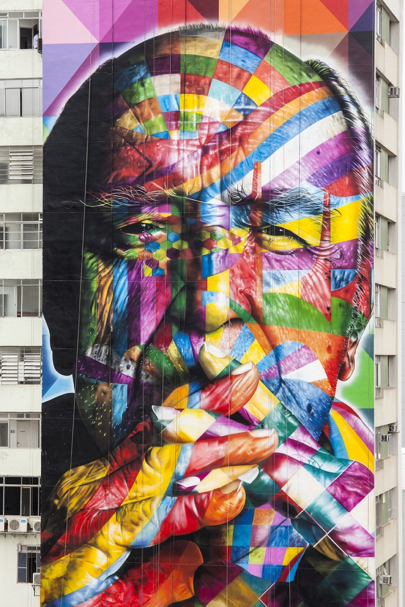 Street Art by Kobra in Sao Paulo, Brazil