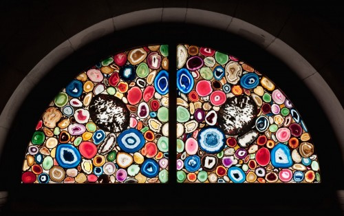 Glass Windows of Grossmünster Cathedral in Switzerland